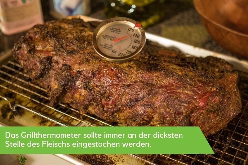 Bratenthermometer, welches in einem Stück Fleisch steckt