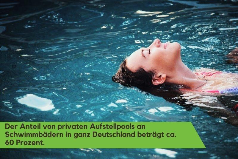 Eine Frau schwimmt auf der Wasseroberfläche ihres Gartenpools