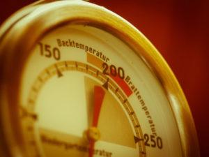 Nahaufnahme eines Grillthermometers