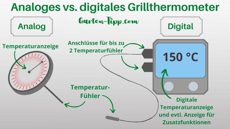 Infografik über die Komponenten eines analogen und eines digitalen Grillthermometers