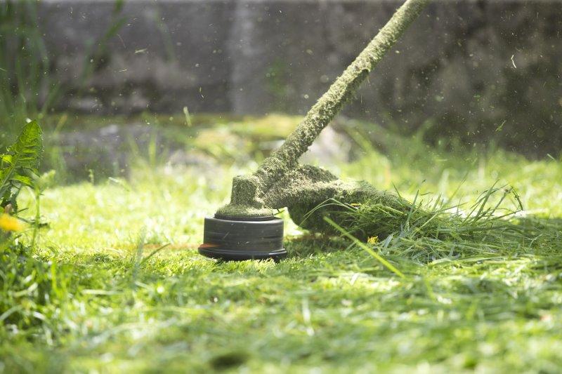 Ein Rasenkantenschneider mäht Gras