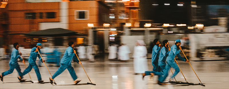 Reinigungskräfte im Masjidi al-Haram Komplex in Mekka
